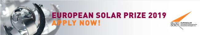 Bewerbungen für Europäischen Solarpreis noch bis 15. 08. 2019 möglich!