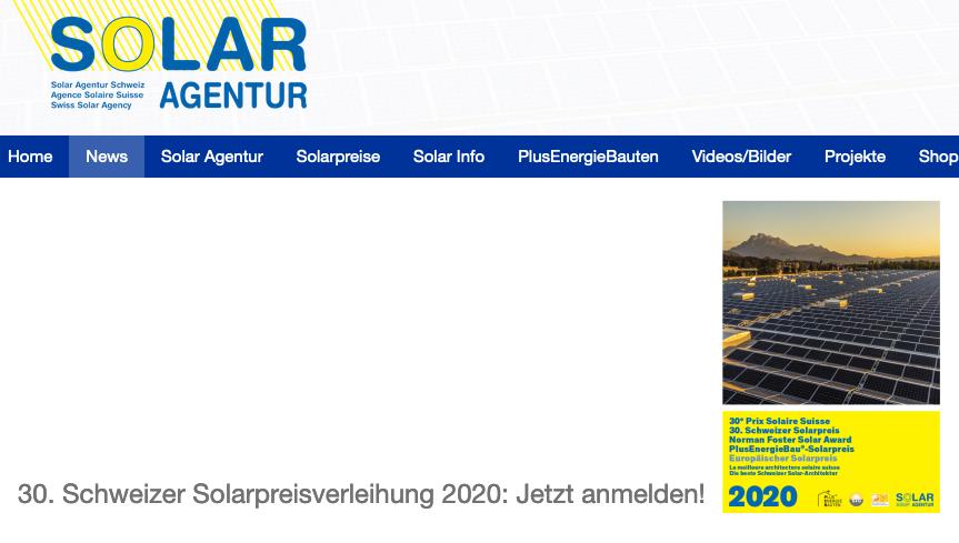 Schweizer Solarpreisverleihung am 20. Oktober 2020 in Aarau